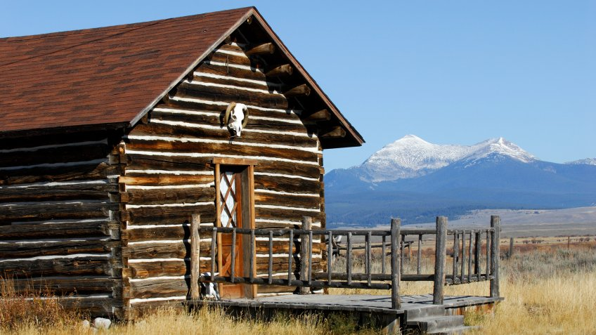 Mountain cabin that once served as a bunkhouse on a working cattle ranch.