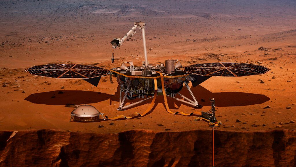 Mandatory Credit: Photo by Uncredited/AP/REX/Shutterstock (9655932a)This illustration made available by NASA in 2018 shows the InSight lander drilling into Mars.