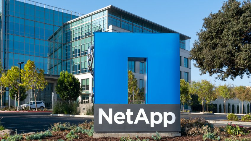 SUNNYVALE, CA/USA - OCTOBER 20, 2018: NetApp corporate headquarters and trademark logo.