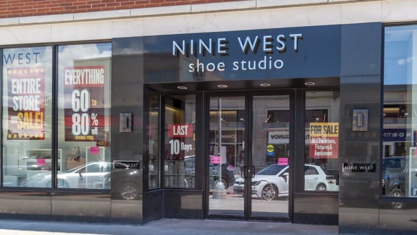 Toronto, Canada - Feb 10, 2018: Nine West shoe store at Shops at Don Mills in Toronto, Canada.
