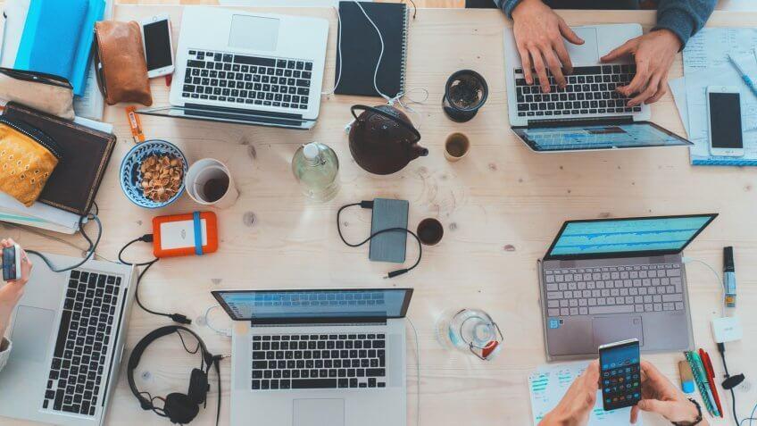 People using Mac laptops
