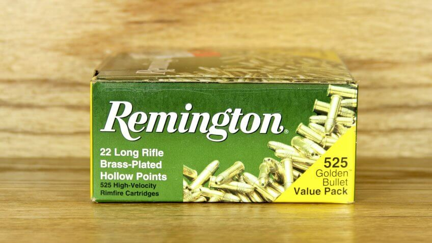 SPENCER , WISCONSIN-March 2, 2014 : box of Remington 22 Long Rifle Cartridges.