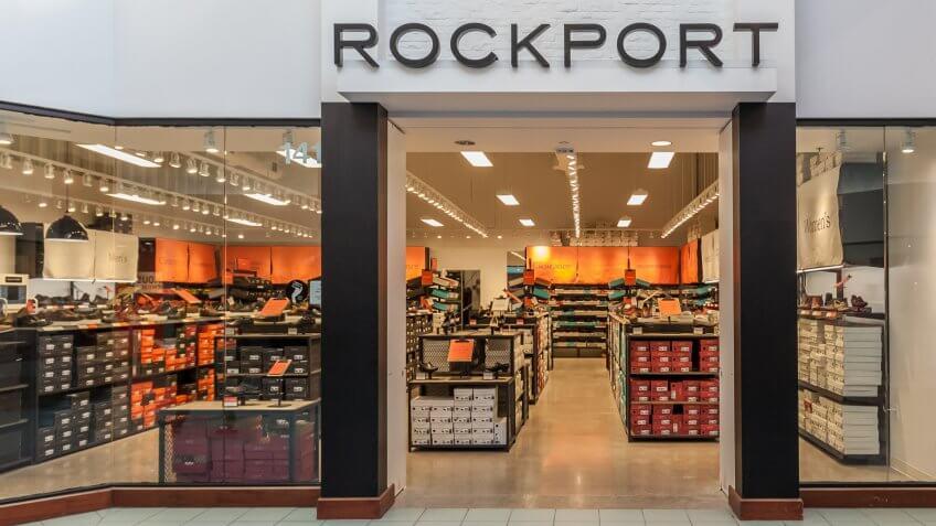 Vaughan, Ontario, Canada - March 24, 2018: Rockport shoe store at Vaughan Mills in Toronto.