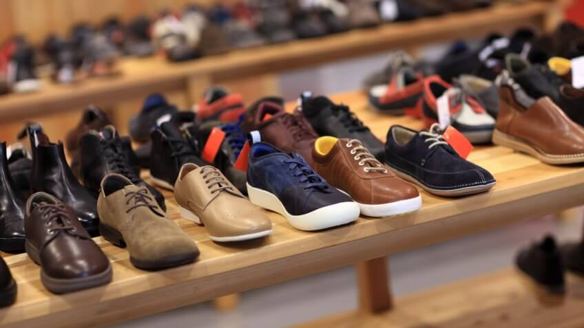 Shoes on the wooden shelf