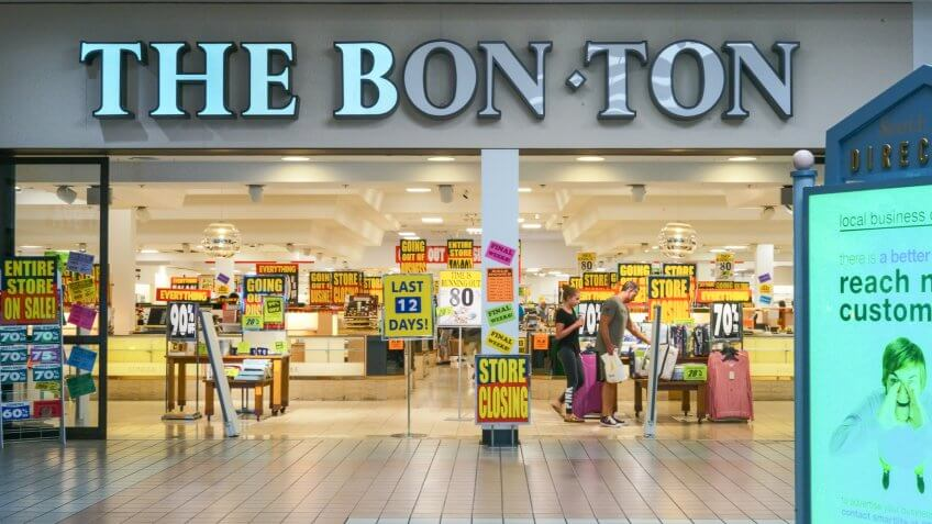 Philadelphia, Pennsylvania, August 19, 2018:Bon-Ton stores Inc, a bankrupt chain of 200 regional department stores is on store closing sales.