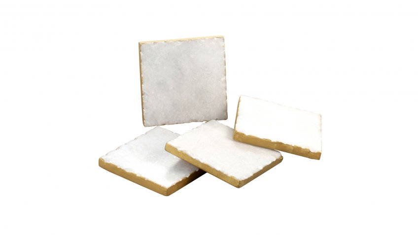 Thirstystone Gold Edge Marble Coasters in White at Bed Bath and Beyond