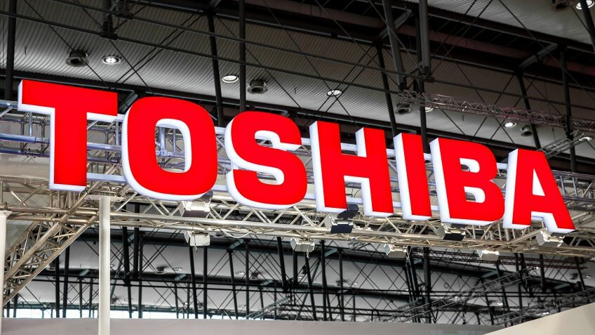 Hannover, Germany - March, 2017: Toshiba company logo sign on exhibition fair Cebit 2017 in Hannover Messe, Germany.