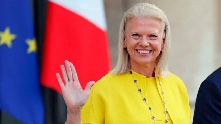 Mandatory Credit: Photo by Francois Mori/AP/REX/Shutterstock (9691664a)IBM's President and CEO Virginia Rometty leaves after her meeting with France's President Emmanuel Macron at the Elysee Palace in Paris, .
