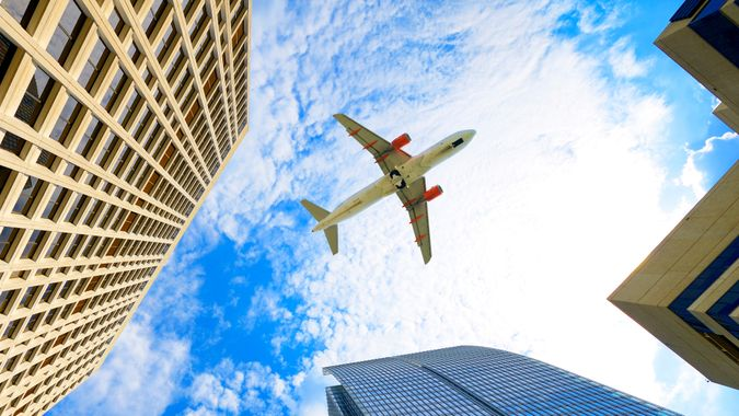 Airplane flying over Atlanta, Georgia, USA.