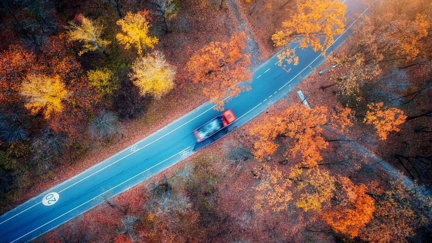 Aerial view of road with blurred car in autumn forest at sunset.