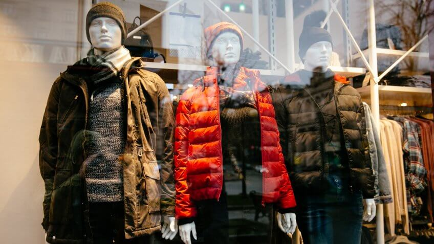 mannequins dressed in winter apparel