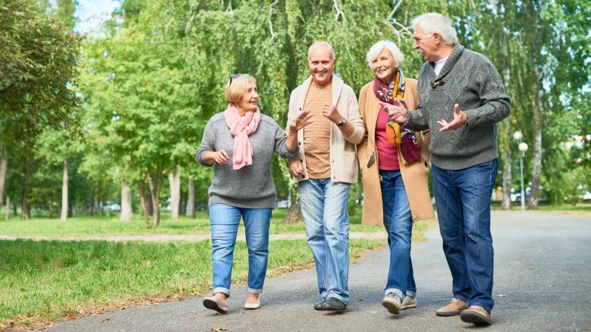 Joyful group of senior friends wearing warm clothes walking along park alley and chatting animatedly with each other, picturesque view on background.