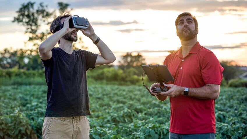 Friends Using Drone and Virtual Reality Headset Outdoor.