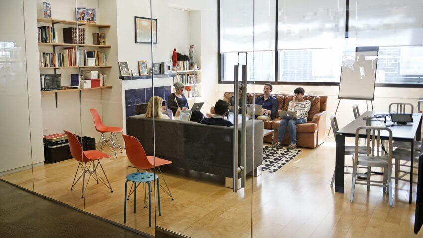Photo by Ibl/REX/Shutterstock Airbnb officeAirbnb office, San Francisco, California, America - 24 Mar 2015.
