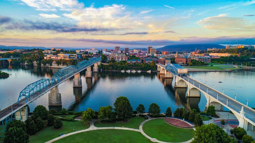 Aerial of Chattanooga Tennessee TN Skyline.