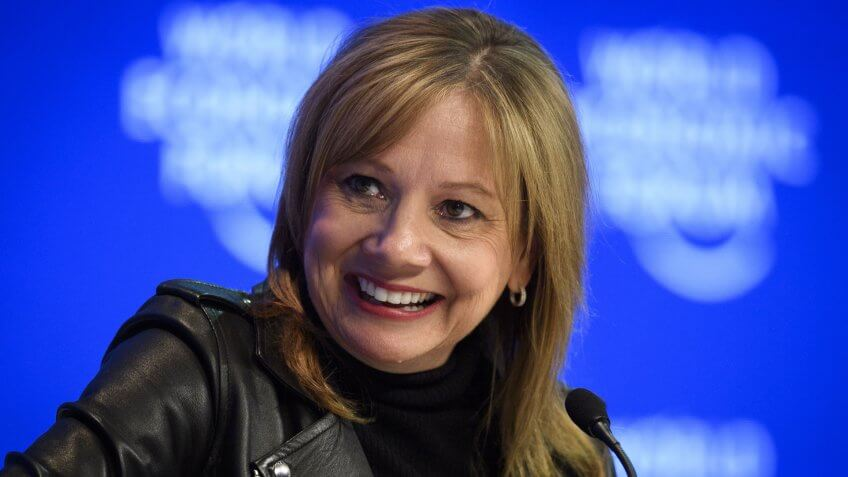 Mandatory Credit: Photo by Gian Ehrenzeller/EPA/REX/Shutterstock (7879048fk)mary barraWorld Economic Forum 2017 in Davos, Switzerland - 17 Jan 2017Mary Barra, Chairman and Chief Executive Officer of General Motors, is pictured during a plenary session in the Congress Hall, on the first day of the 47th annual meeting of the World Economic Forum, WEF, in Davos, Switzerland, 17 January 2017.