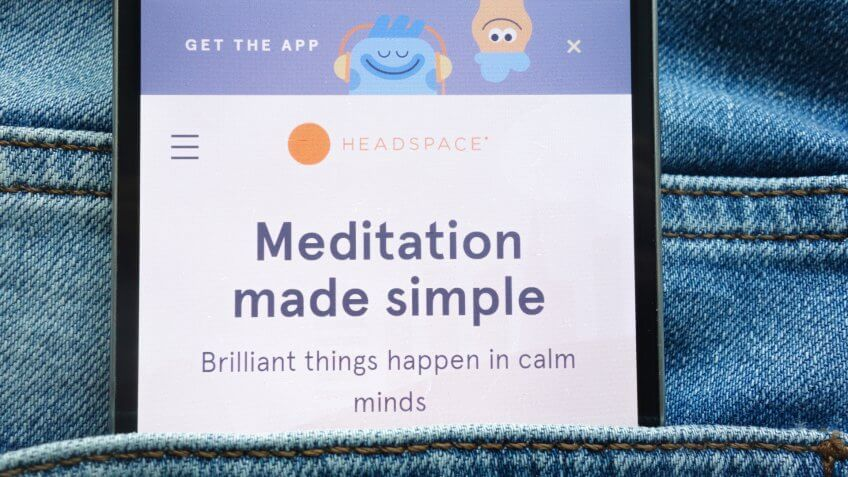 KONSKIE, POLAND - JUNE 09, 2018: Headspace website displayed on smartphone hidden in jeans pocket.