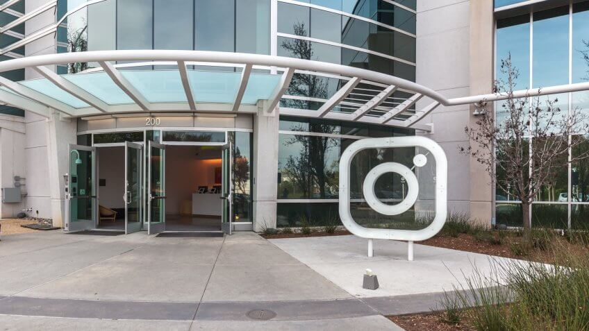 Menlo Park, California, USA - March 30, 2018: Entrance of Instagram headquarters in Silicon Valley.