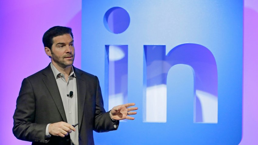 Mandatory Credit: Photo by Eric Risberg/AP/Shutterstock (6315687a)Jeff Weiner LinkedIn CEO Jeff Weiner speaks during a product announcement at his company's headquarters, in San Francisco.