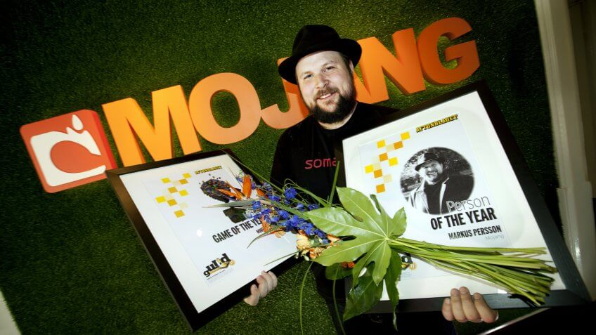 """Mandatory Credit: Photo by Ibl/REX/Shutterstock (4105792a)Swedish video game programmer and designer Markus """"Notch"""" Persson, creator of """"Minecraft""""Markus """"Notch"""" Persson, Stockholm, Sweden - 30 May 2011Microsoft has bought his company, Mojang, for USD 2,5 billion."""