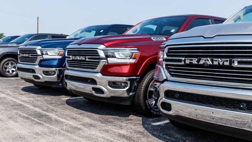 Noblesville - Circa August 2018: Ram 1500 Pickup Trucks at a Dodge dealership.