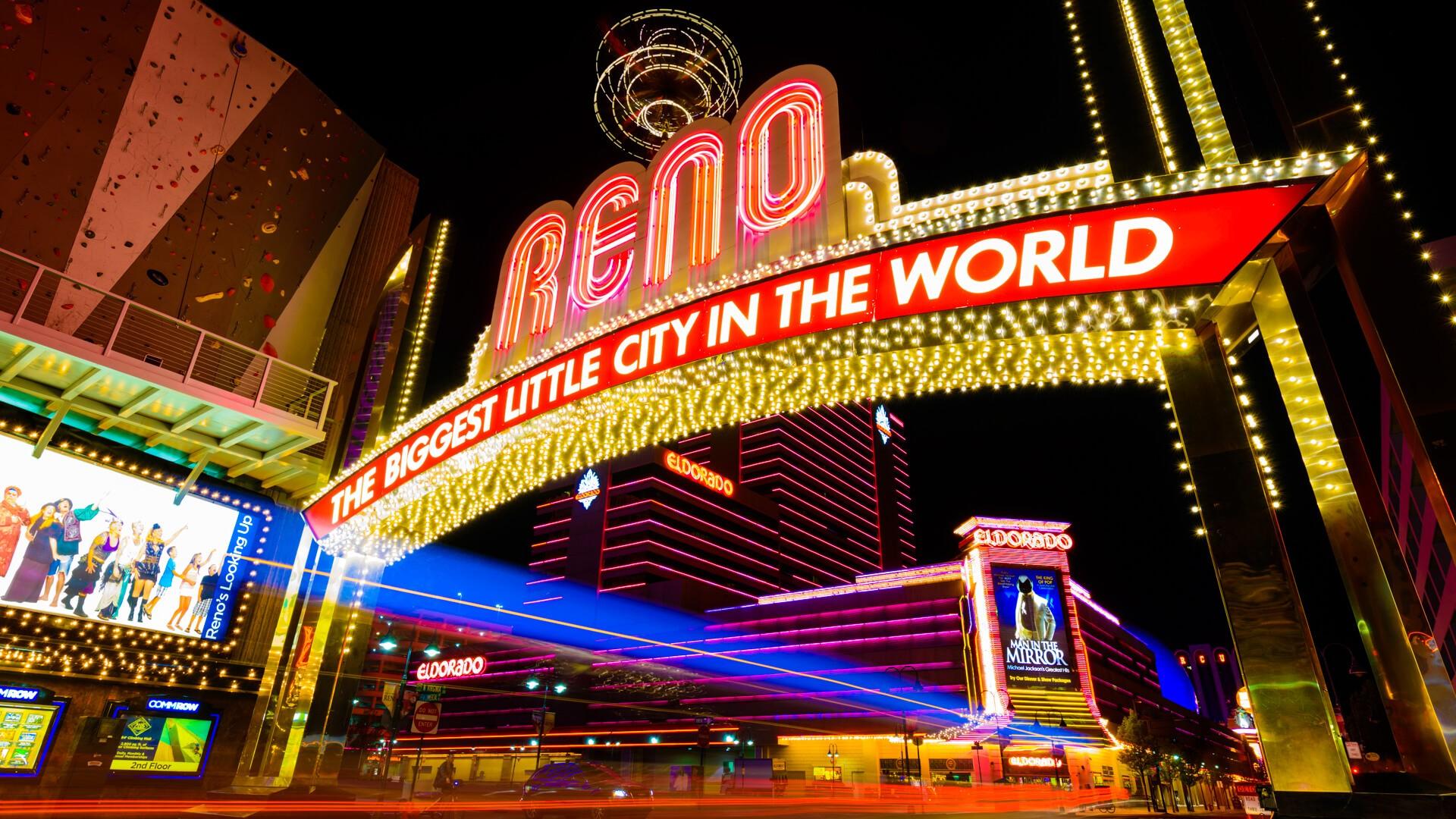 """""""Reno, Nevada, USA - April 20, 2012: downtown Reno Nevada lights at night""""."""