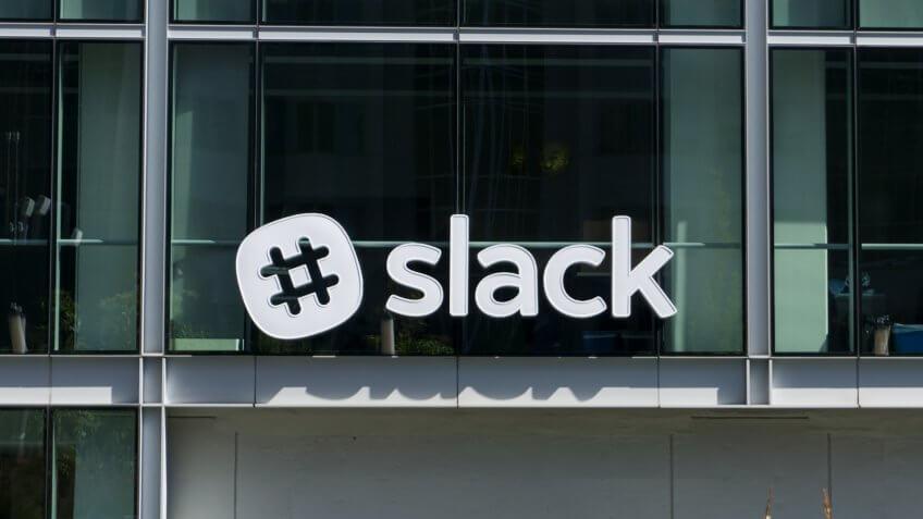 San Francisco Ca,August 25 2018:Slack company logo at Slack HQ.