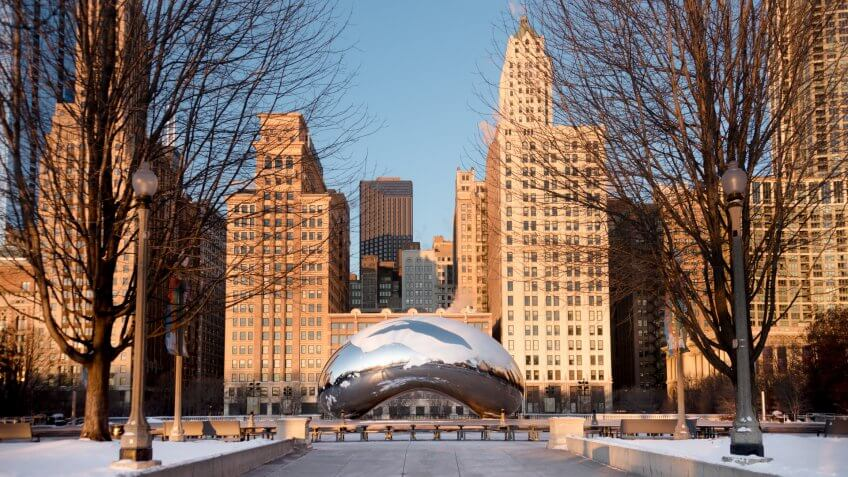 Chicago, USA - January 17, 2018: Cloud Gate is a public sculpture by Indian-born British artist Sir Anish Kapoor, that is the centerpiece of AT.