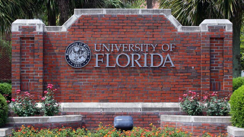 GAINESVILLE, FL - MAY 11: An entrance to the University of Florida on May 11th, 2016. The University of Florida is a public research university located in Gainesville, Florida.