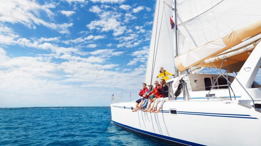Sailing on catamaran.