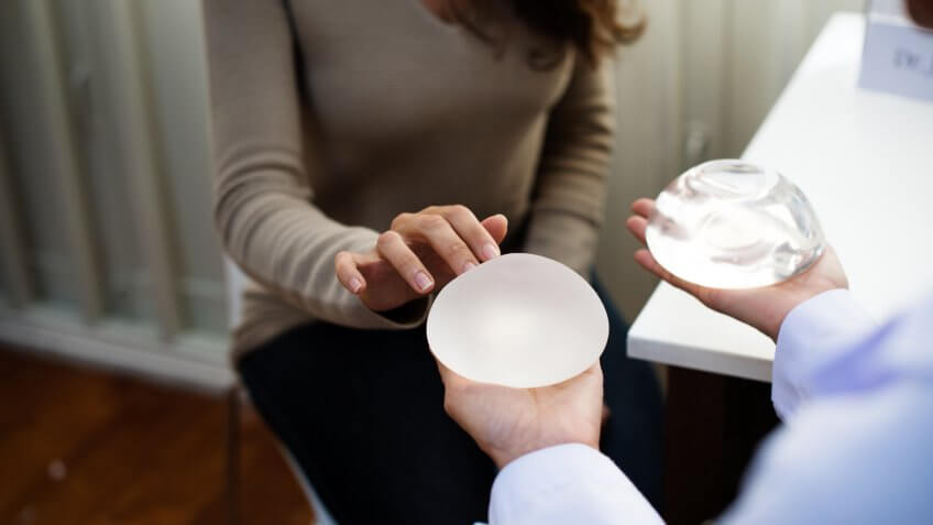 Woman planning to have a breast implant.