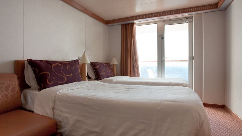 interior of room on cruise liner - two bed room.