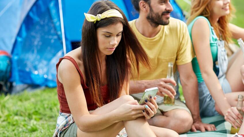 using smartphone out in the wilderness
