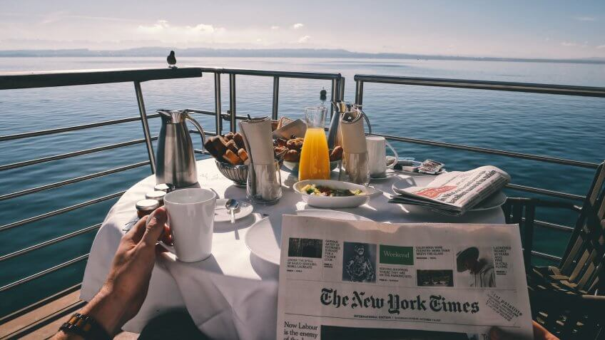 enjoying morning breakfast on a cruise out in the sea