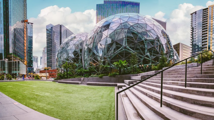 Seattle, Washington Circa November 7, 2018 Amazon company campus world headquarters ,glass Spheres at the Seattle Amazon headquarters, - Image.