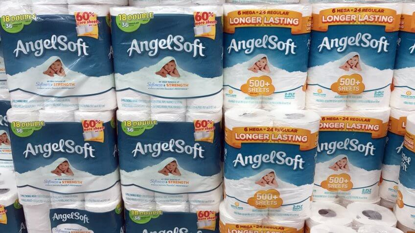 Altoona, Wisconsin, October, 19, 2017 Several packages of Angel Soft bathroom tissue on a grocery store shelf Angelsoft was introduced to the United States in 1987.