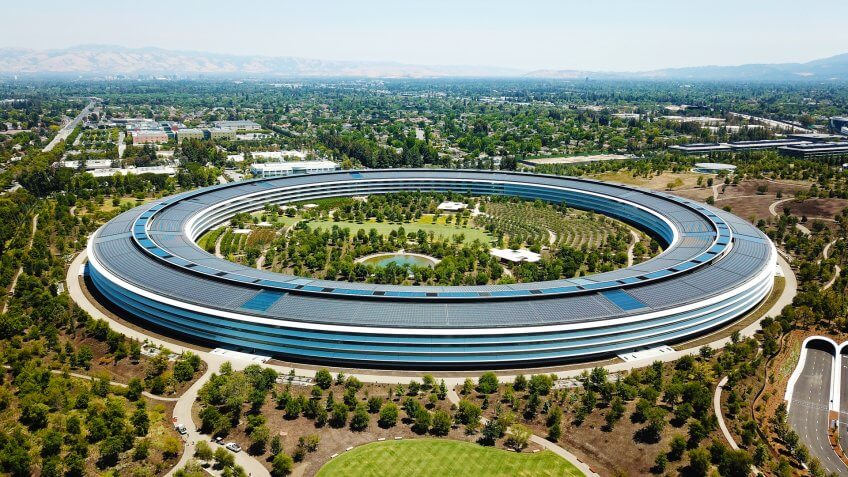 Cupertino, CA, USA - June 25, 2018: Aerial photo of Apple Headquarters, Apple Park.