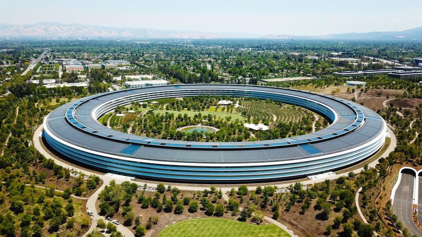 Cupertino, CA, USA - June 25, 2018: Aerial photo of Apple Headquarters, Apple Park.