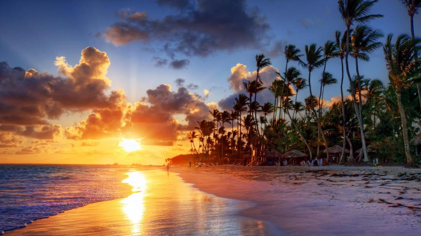 Bahamas beach at sunset