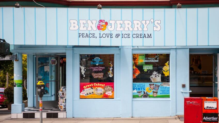 """San Francisco, USA - May 27, 2011: Ben + Jerry's ice-cream shop in the famous Haight-Ashbury district in San Francisco during daytime."