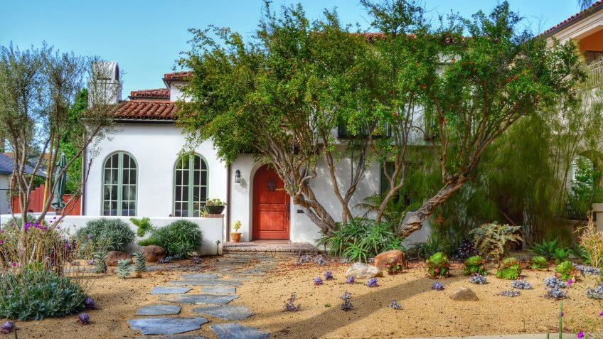 California home with drought resistant plants