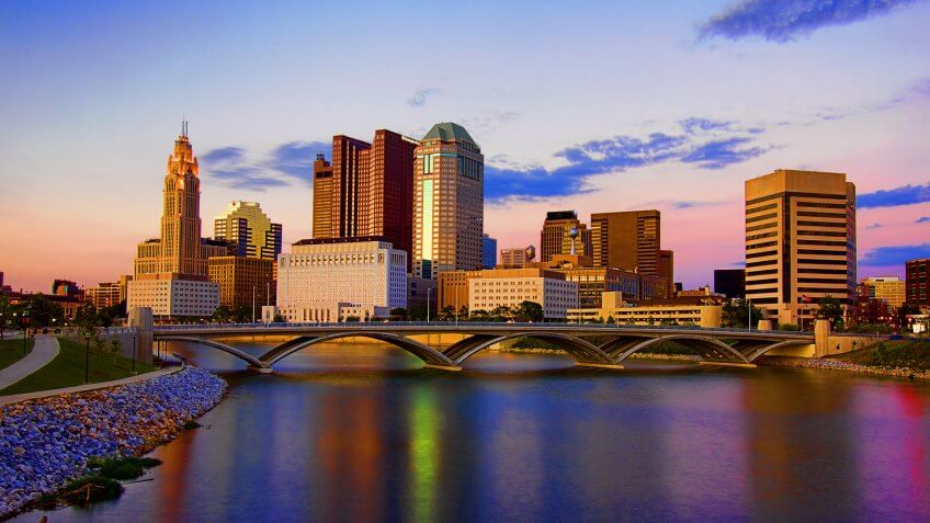 High Dynamic Range HDR Photo of Downtown Columbus Ohio.