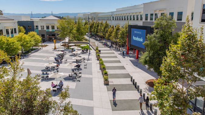 Menlo Park, California United States - August 29, 2016: Looking out at the main campus of Facebook headquarters in Menlo Park California, the online social media and social networking service started in 2004 by Mark Zuckerberg.