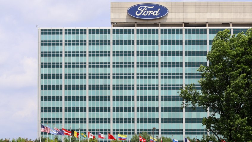 Dearborn, MI, USA – July 31, 2014: The Ford Motor Company World Headquarters building located in Dearborn, Michigan.