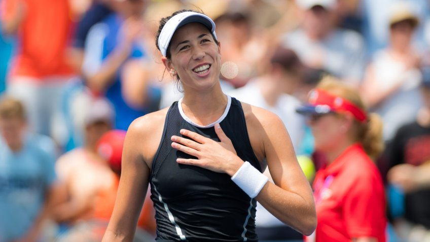 CINCINNATI, UNITED STATES - AUGUST 19 : Garbine Muguruza of Spain at the 2017 Western & Southern Open WTA Premier 5 tennis tournament - Image.