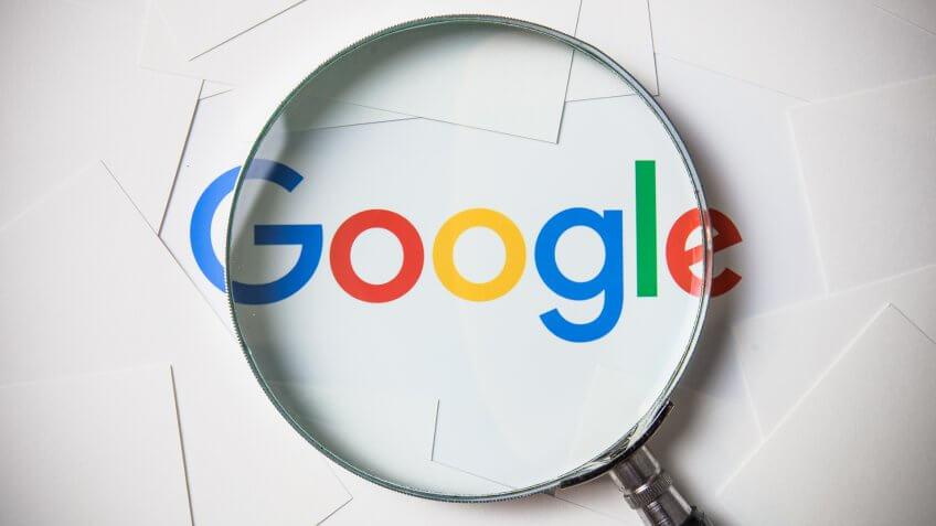 Google search with magnifying glass concept