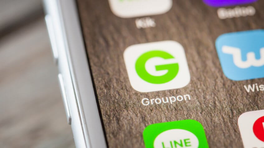 Groupon app on smartphone
