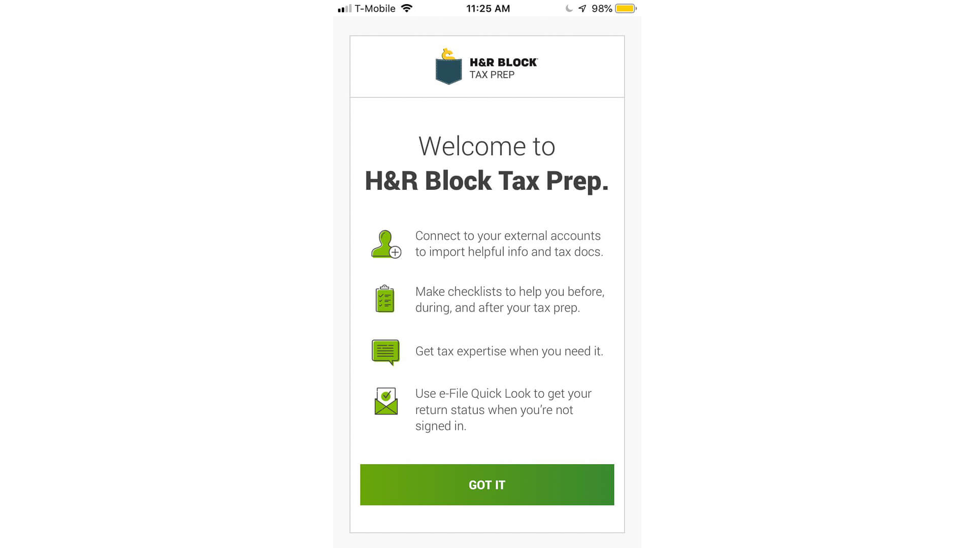 HR Block Tax Prep mobile app