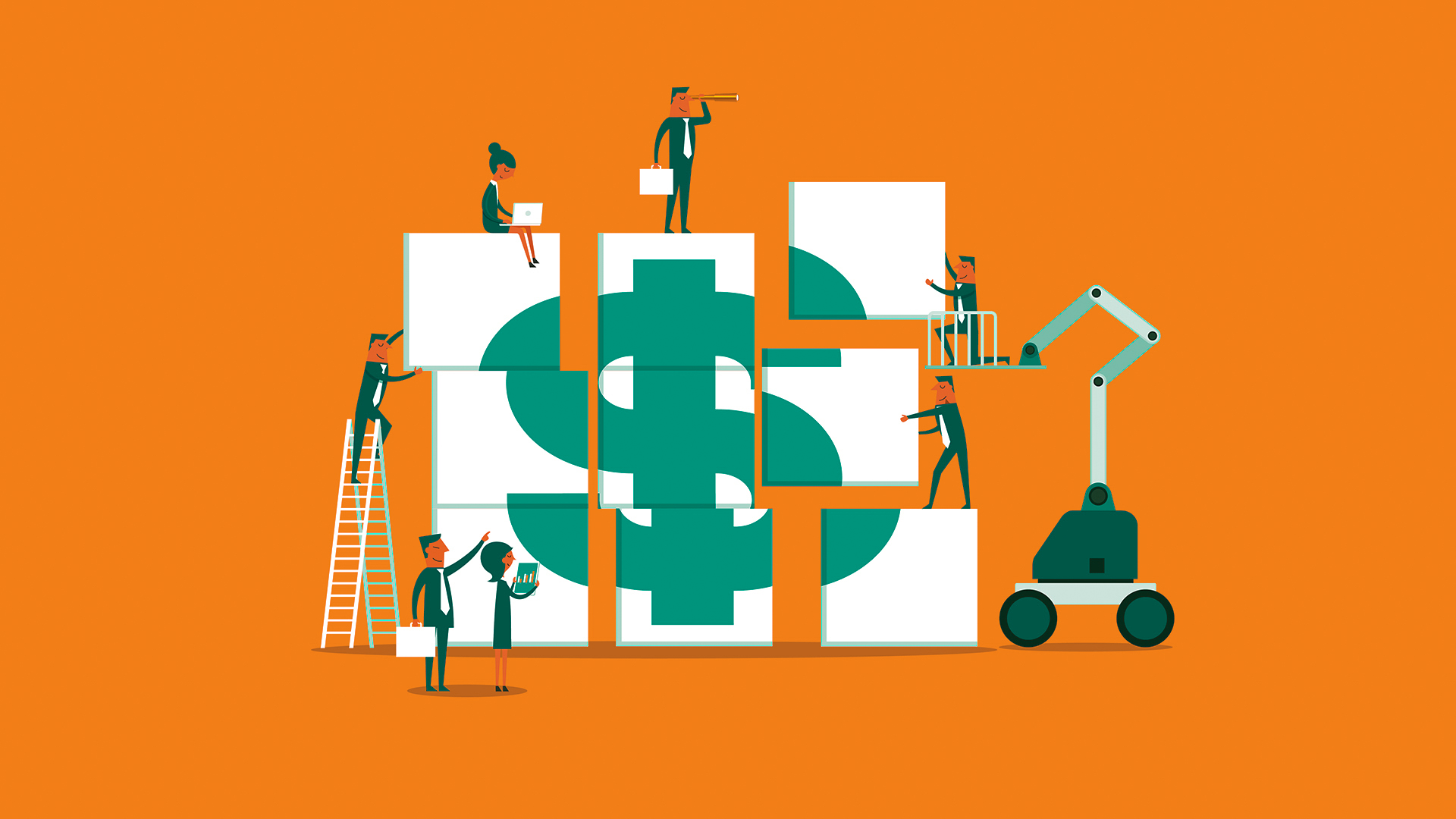 Illustration of a group of people moving pieces of a dollar sign