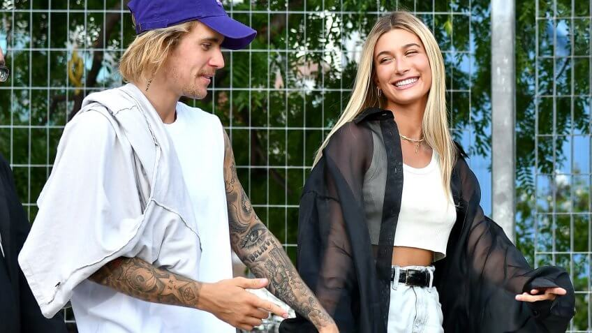 Mandatory Credit: Photo by Rodin Banica/WWD/REX/Shutterstock (9870883c)Justin Bieber and Hailey BaldwinJohn Elliott show, Front Row, Spring Summer 2019, New York Fashion Week, USA - 06 Sep 2018.